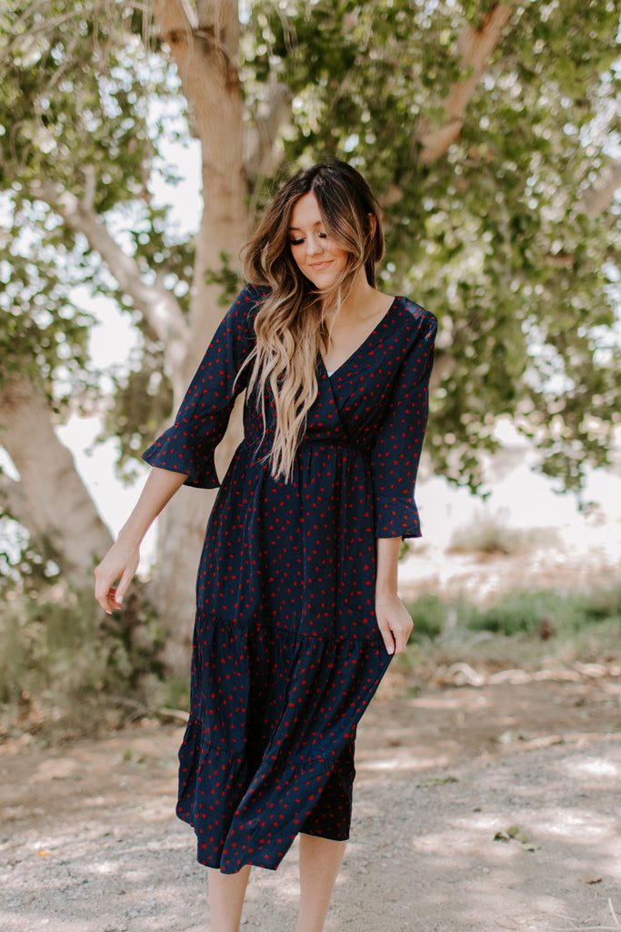 Taylor Tiered Midi in Navy