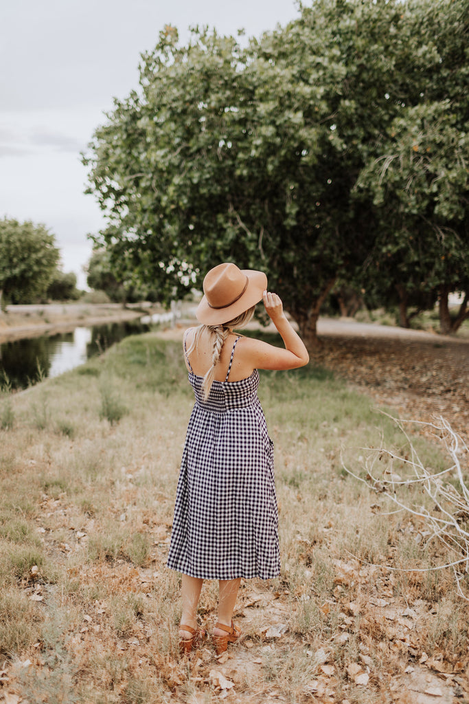 Betty Button up Midi in Navy Gingham