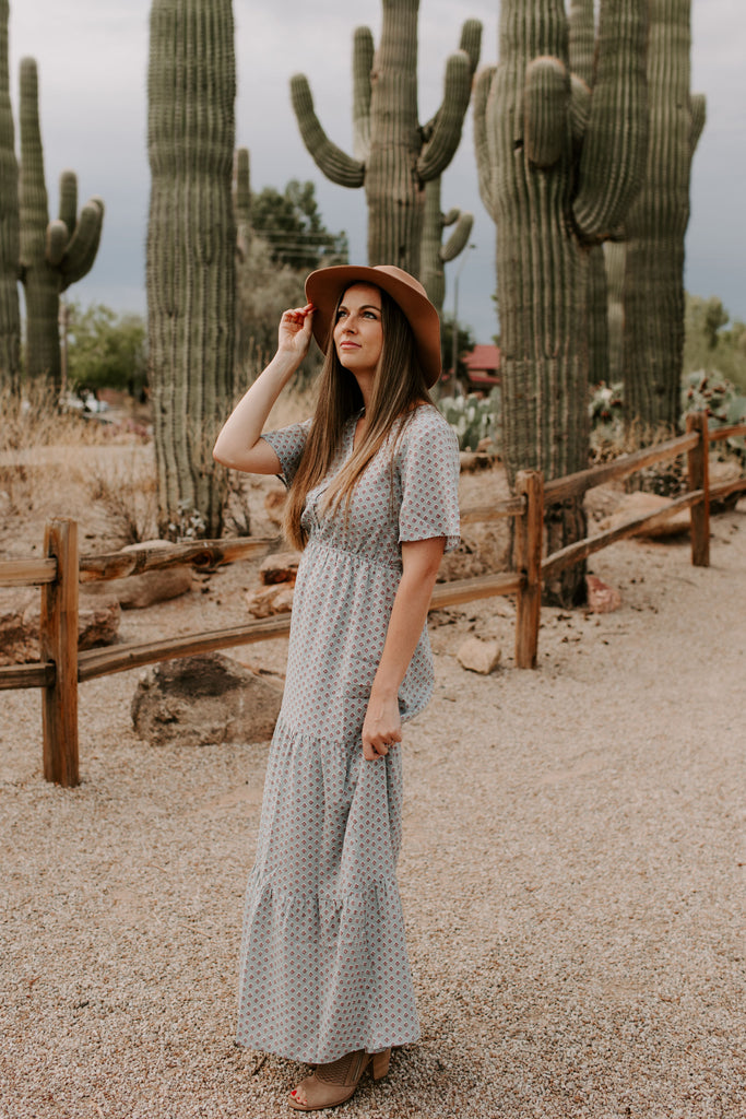 Kyndall Tiered Maxi in Dusty Blue