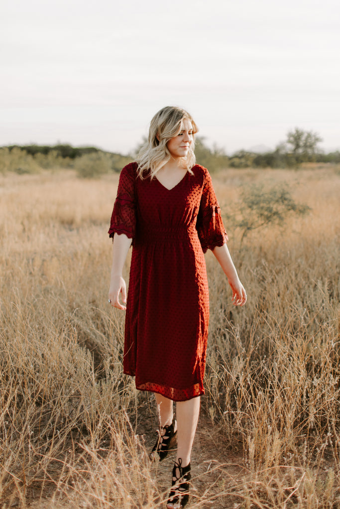 Swiss Dot Lace Midi in Burgundy