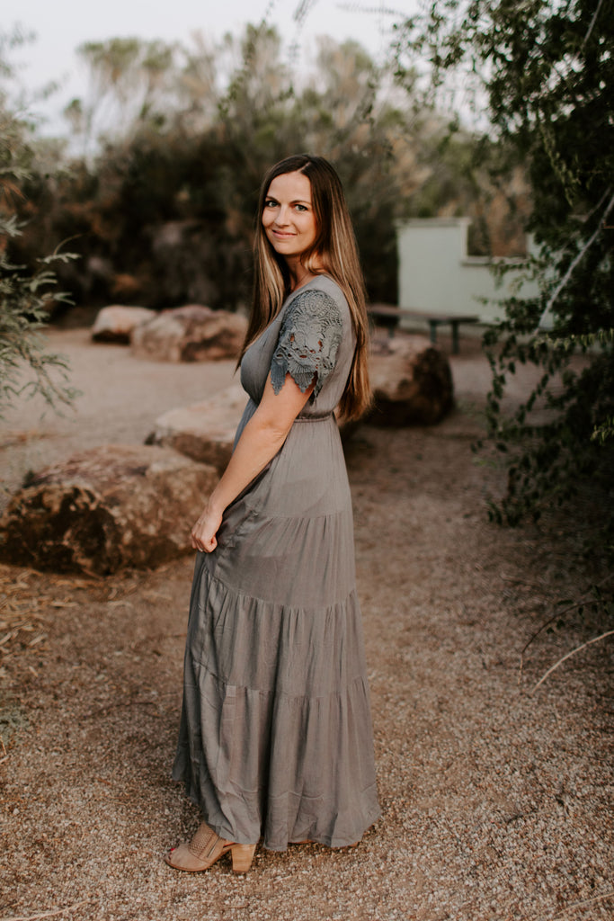 Erin Lace Maxi in Charcoal