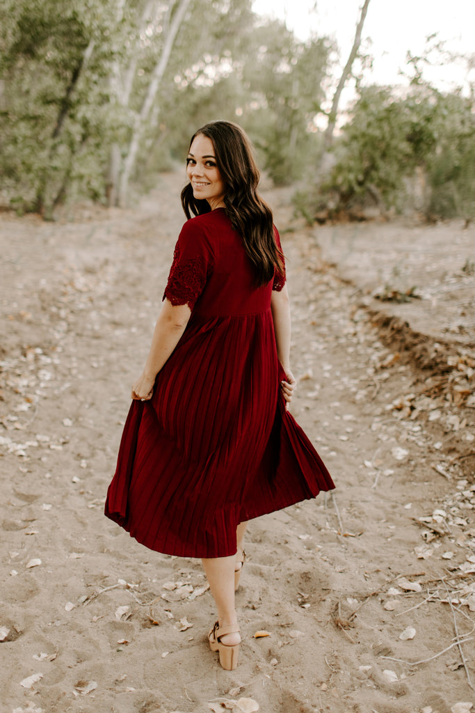 Maroon Pleated Midi