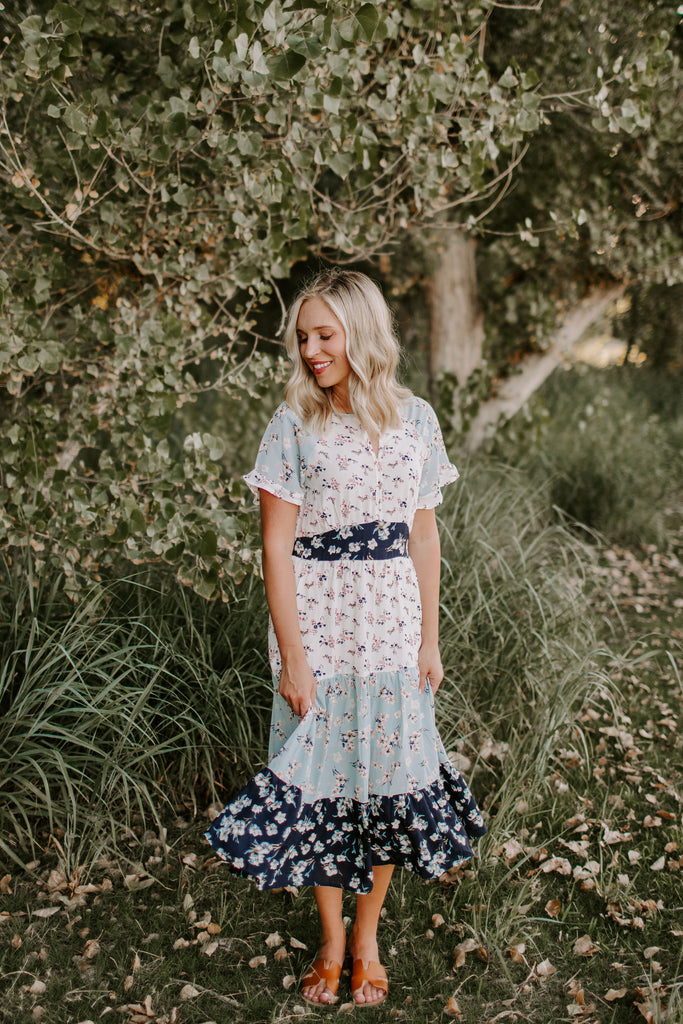 Dani Tiered Mixed Floral Midi