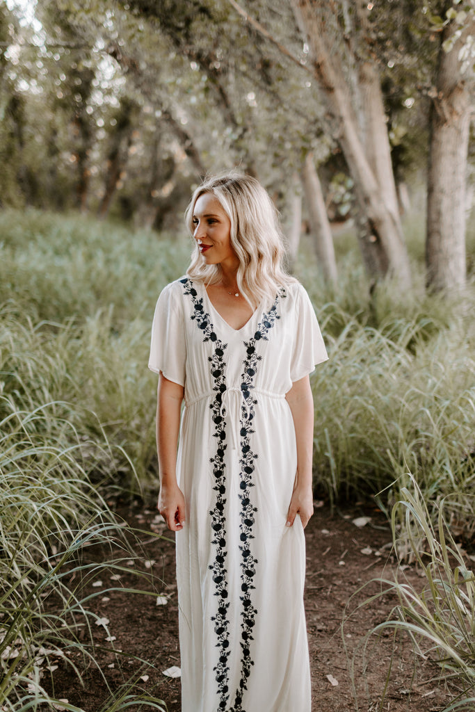 Amelia Embroidered Maxi in White