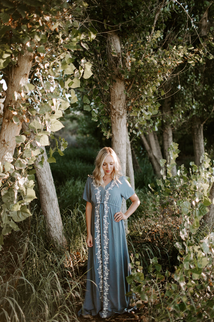 Amelia Embroidered Maxi in Blue