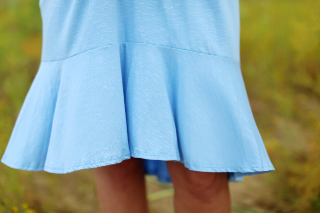Mia Ruffle Dress in Blue