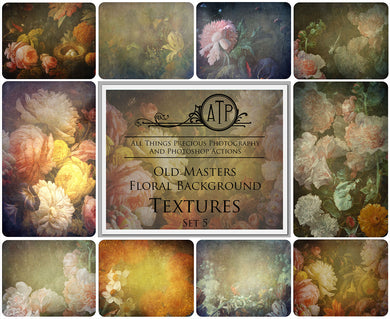 10 OLD MASTERS Floral Background TEXTURES - Set 5