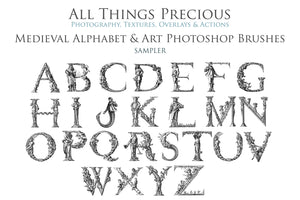 54 Medieval ALPHABET, Florals & Insects - Photoshop Brushes