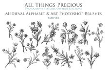 Load image into Gallery viewer, 54 Medieval ALPHABET, Florals & Insects - Photoshop Brushes
