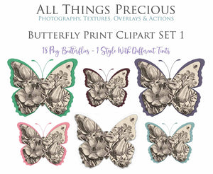 BUTTERFLY PRINT CLIPART Set 1 - Clipart