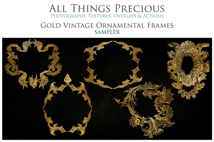 VINTAGE ORNAMENTAL GOLD Frames - Clipart