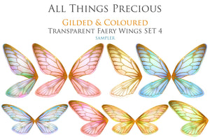 20 FAIRY WING Overlays - Png GILDED & COLOURED TRANSPARENT Set 4