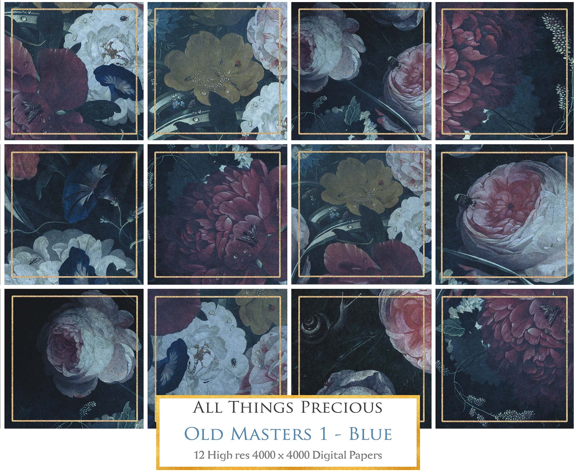 OLD MASTERS FLORAL Set 1 - BLUE - Digital Papers