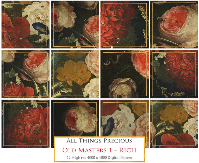 OLD MASTERS FLORAL Set 1 - RICH - Digital Papers