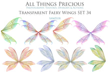 Load image into Gallery viewer, 20 Png TRANSPARENT FAIRY WING Overlays Set 34