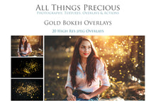 Load image into Gallery viewer, 20 GOLD BOKEH Digital Overlays