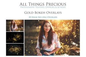 20 GOLD BOKEH Digital Overlays