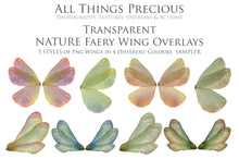 Load image into Gallery viewer, 20 Png TRANSPARENT NATURE FAIRY WING Overlays Set 1