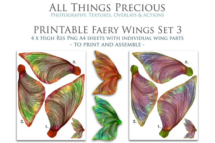 PRINTABLE FAIRY WINGS for Art Dolls - Set 3