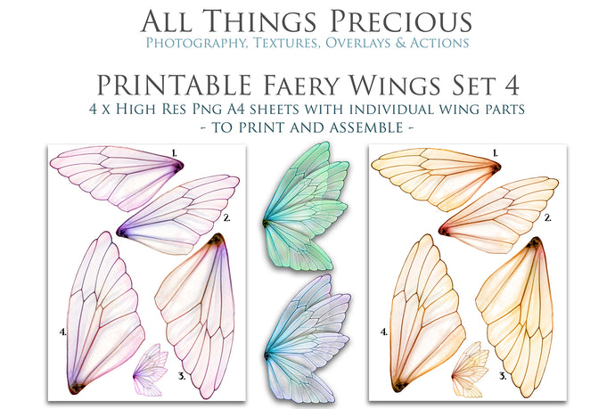 PRINTABLE FAIRY WINGS for Art Dolls - Set 4