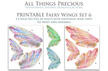 Load image into Gallery viewer, PRINTABLE FAIRY WINGS for Art Dolls - Set 6
