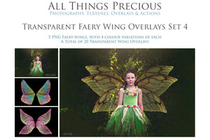 20 Png TRANSPARENT FAIRY WING Overlays Set 4
