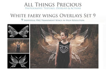 Load image into Gallery viewer, 9 Png WHITE FAIRY WING Overlays Set 9