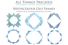 Load image into Gallery viewer, 30 PNG WATERCOLOUR / WHITE Geo Frames - Clipart