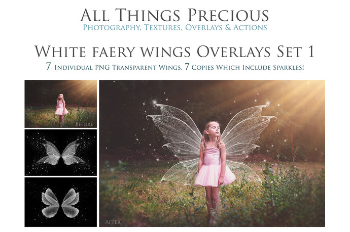 14 Png WHITE FAIRY WING Overlays Set 1