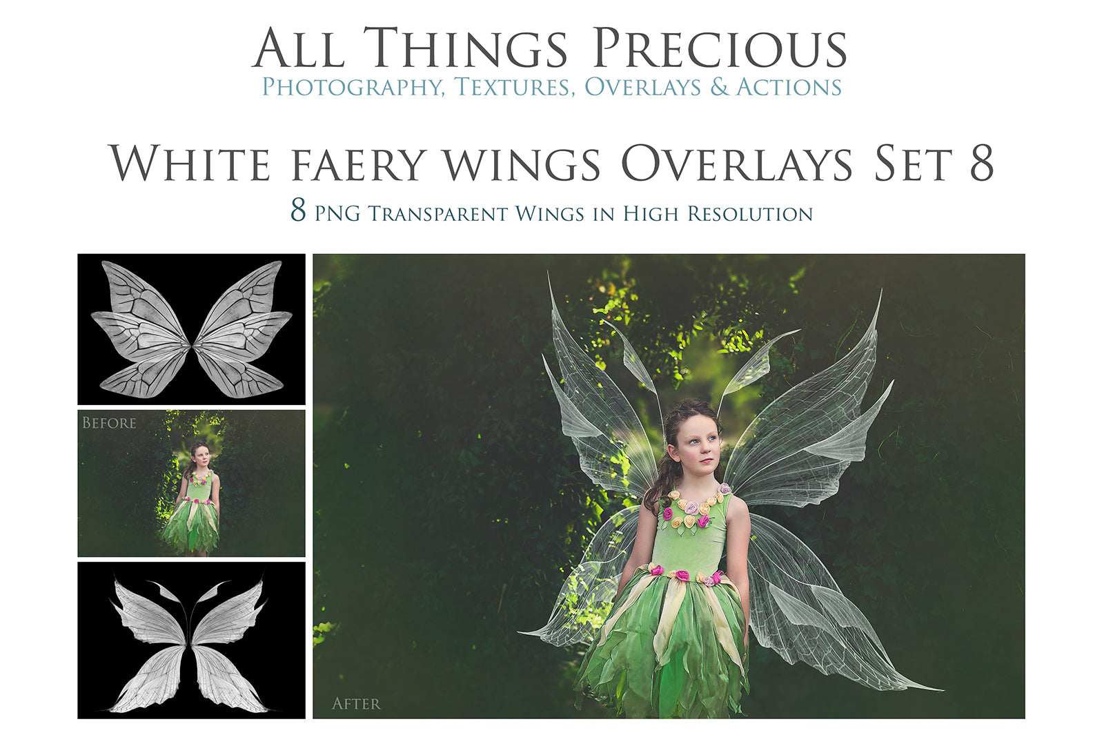 8 Png WHITE FAIRY WING Overlays Set 8