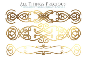 SWIRLY GOLD BORDERS set 1 - Clipart
