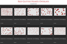 Load image into Gallery viewer, RED GLITTER LOVE HEART Digital Overlays