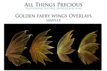 Load image into Gallery viewer, 14 Png GOLDEN FAIRY WING Overlays Set 1