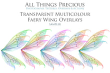 Load image into Gallery viewer, 25 Png Transparent MULTICOLOURED FAIRY WING Overlays Set 2