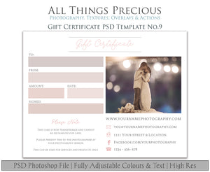 GIFT CERTIFICATE - PSD Template No. 9