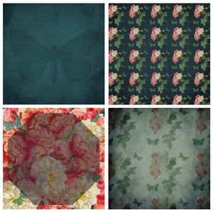 VINTAGE ROSE & BUTTERFLY Digital Papers Set 1