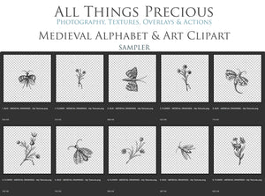 MEDIEVAL ALPHABET, Insects & Florals - Clipart