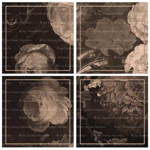 OLD MASTERS FLORAL Set 1 - SEPIA - Digital Papers