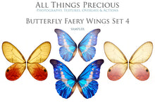 Load image into Gallery viewer, 20 Png BUTTERFLY FAIRY WING Overlays Set 4