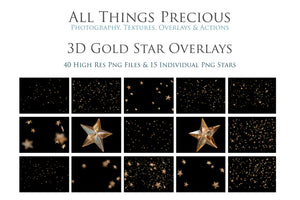 3D GOLD STAR Digital Overlays