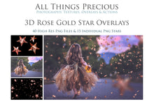 Load image into Gallery viewer, 3D ROSE GOLD STAR Digital Overlays