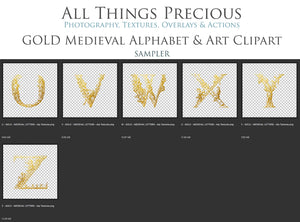 Gold MEDIEVAL ALPHABET, Insects & Florals - Clipart