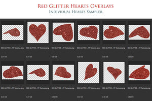 RED GLITTER LOVE HEART Digital Overlays