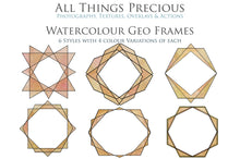 Load image into Gallery viewer, 30 PNG WATERCOLOUR / BLACK Geo Frames - Clipart