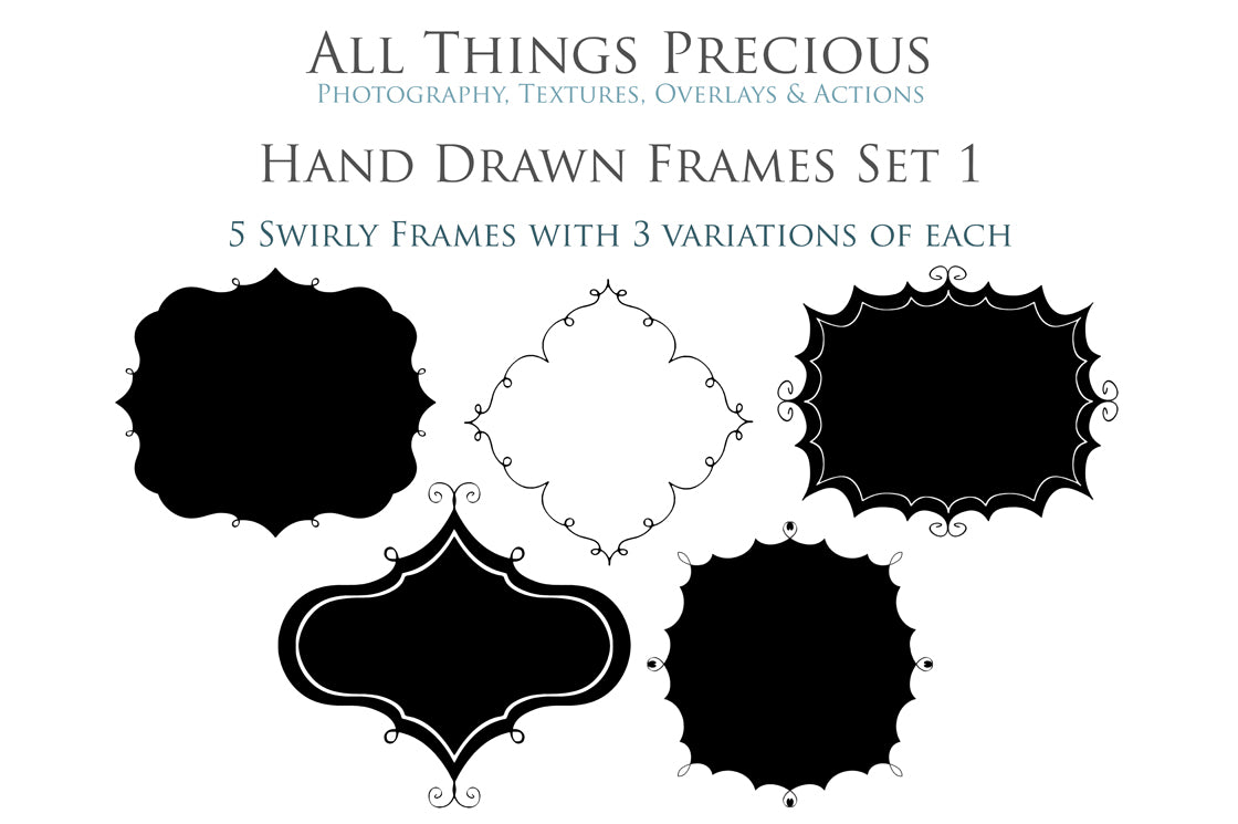 HAND DRAWN SWIRLY CLIPPING MASK FRAMES Set 1