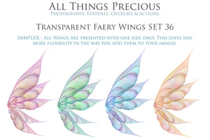 20 Png TRANSPARENT FAIRY WING Overlays Set 36