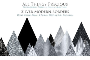 MODERN SILVER BORDERS - Clipart