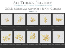 Load image into Gallery viewer, Gold MEDIEVAL ALPHABET, Insects & Florals - Clipart