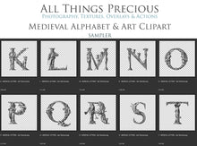 Load image into Gallery viewer, MEDIEVAL ALPHABET, Insects & Florals - Clipart