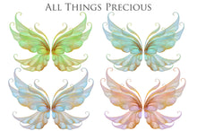 Load image into Gallery viewer, 20 FAIRY WING Overlays - Gold GILDED & COLOURED - TRANSPARENT Set 5
